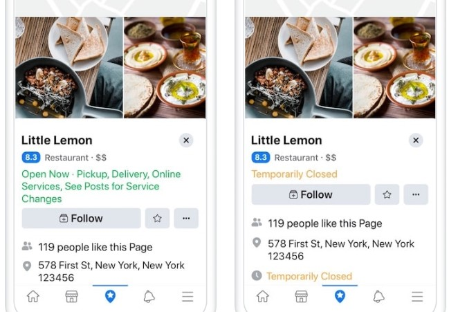 Show Temporary Service Changes on Facebook Pages